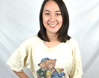 Vintage 90s 80s Teddy Bear Cropped Tee Shirt Tshirt By Bonjour