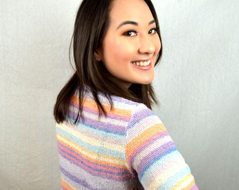Vintage 80s Rainbow Striped Summer Top Shirt - By Alice Kim