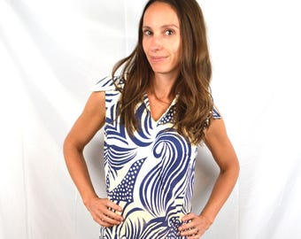 Vintage 1960s 60s Swirl Alex Colman Dress