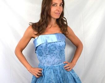 Vintage 1950's Bombshell Blue Sparkle Formal Party Dress