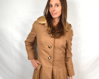 Vintage 1960s 60s Wool Fur Collar Pleated Fitte Winter Coat - Fred Ungar