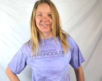 Vintage 80s 90s Hypercolor Purle Pink Tshirt Tee Shirt