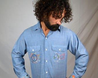 df2910ef2 Vintage Big Mac Jc Penney Chambray Button Up Shirt
