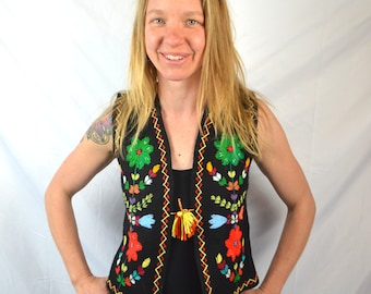 Vintage 90s Embroidered Ethnic Hippie Vest