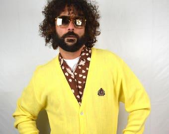 Vintage Yellow IZOD Lacoste Grandpa Cardigan Sweater