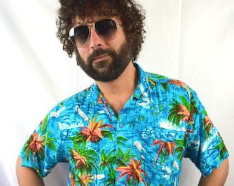 Vintage Rayon Hawaiian Hawaii Button Up Shirt