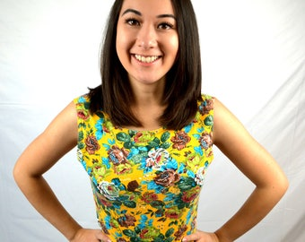 Fun Vintage Floral 80s 1980s Spandex Cropped Top - One Step Up