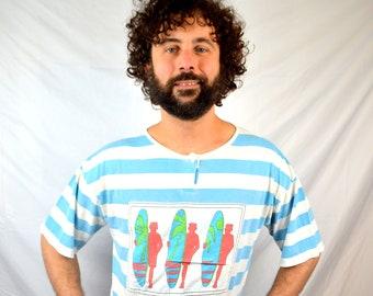 Vintage 80s Striped Boxy Tee Shirt Tshirt - Surfer