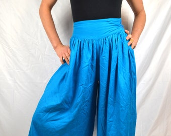 Vintage 1980s Blue Silk Culottes 80s Wide Leg Cropped Pants - IRKA