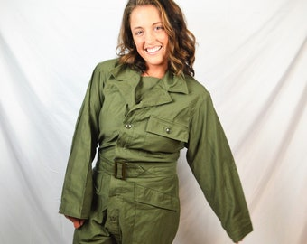 8eb47d88e2f5 Vintage US 1980s USA Military Olive Green Military Jumpsuit Coveralls