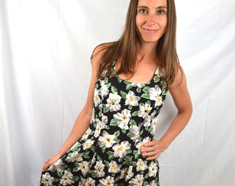 Vintage 80s 90s Summer Floral Mini Dress by Rampage