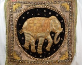 Vintage Sequined Embroidered Elephant Wall Hanging - Burmese Kalaga Tapestry