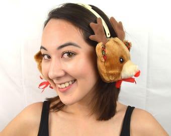 Vintage Christmas Holiday Reindeer Winter Ear Warmers Muffs
