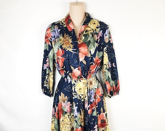 Vintage 80s 1980s Floral Dress - By Lucky Barbara