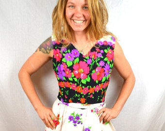 Vintage 1960s Hawaiian Jumpsuit Romper by Alice Polynesian Fashions - Flower Power Palazzo Pants Tiki Loungewear Hostess Cocktail