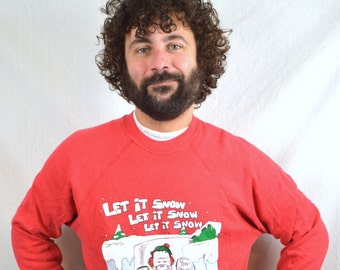 Vintage 90s Funny Sweater Holiday Xmas Christmas Sweatshirt - Let it Snow
