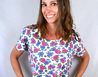Vintage 80s Cropped Floral Top - By Reference Point