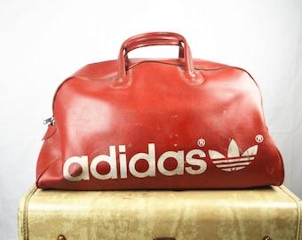 1efc4ce5aad RARE Vintage Red Adidas Vinyl Gym Bag Tote Duffel 80s - YUGOSLAVIA