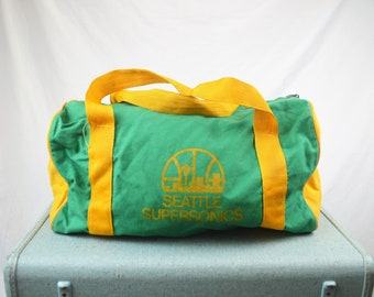 39ab689435e Seattle Supersonics Sonics 90s 1990s Green Yellow Vintage 1980s Duffel Bag  Tote