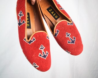711c13a89dc Cute Vintage 80s Zalo Red Anchor Woven Tapestry Loafers - Size 7 1 2