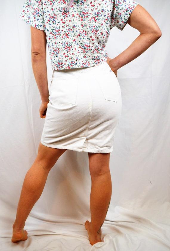 Vintage 80s White Jordache Denim Skirt - Jeanjer