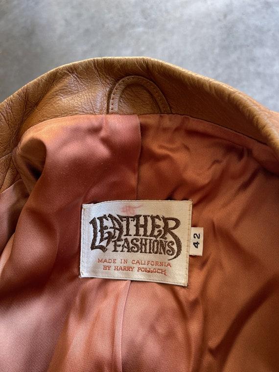 Vintage 1970s 70s Brown Leather Jacket Blazer Coat - image 6