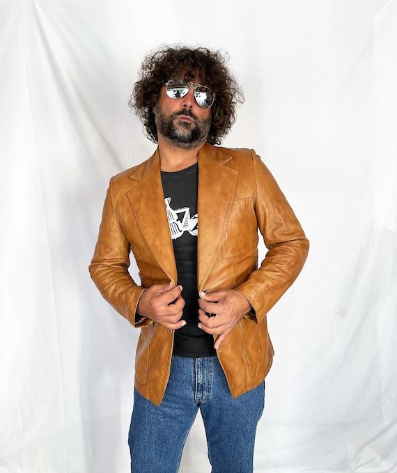 Vintage 1970s 70s Brown Leather Jacket Blazer Coat - image 5
