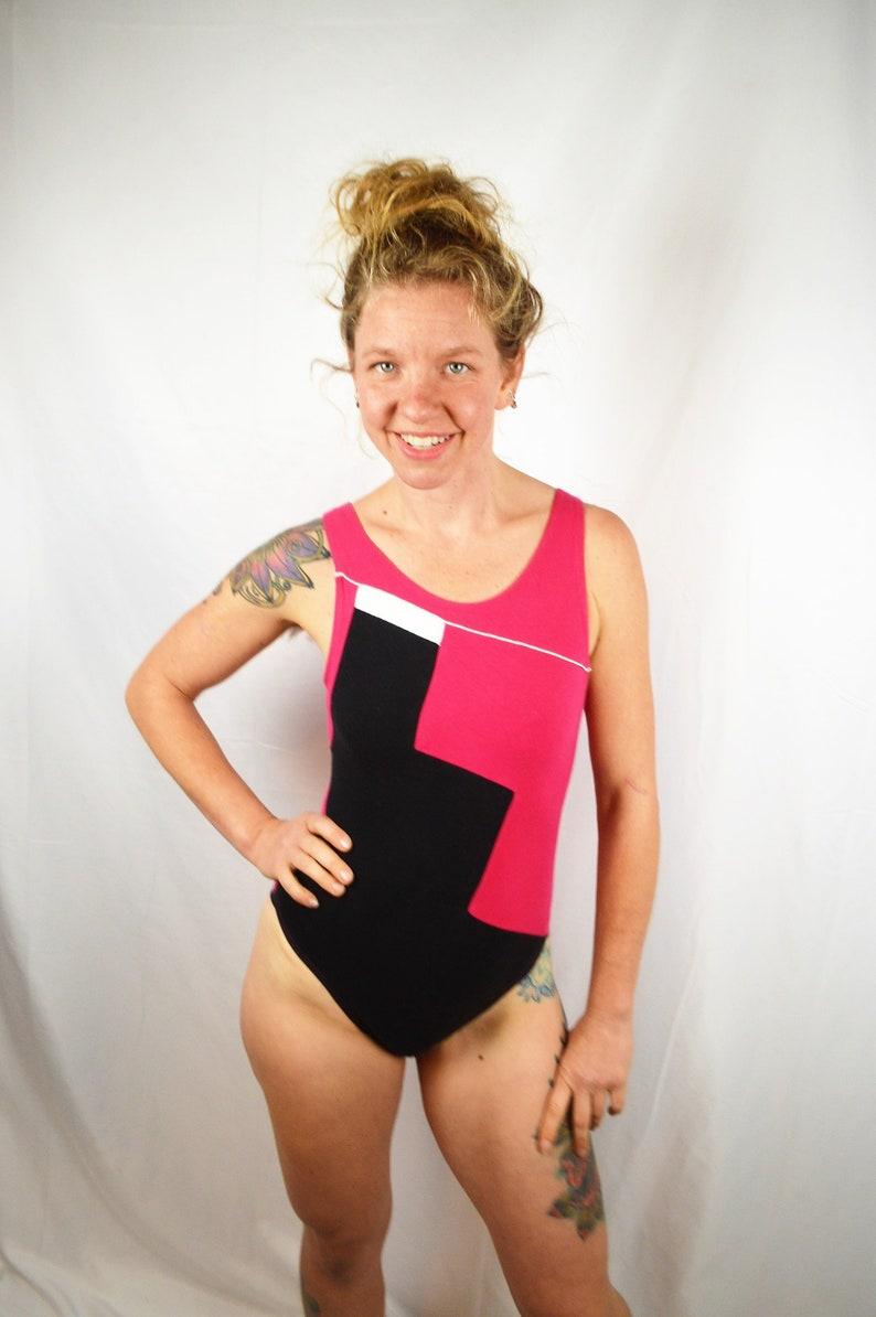13f6836cd0 Vintage Pink Black 1980s 80s Geometric Leotard Marika | Etsy