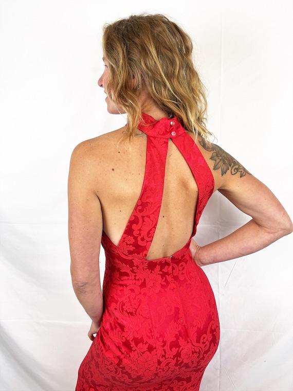 Vintage 1980s 90s Red Sexy Jessica McClintock Gun… - image 5