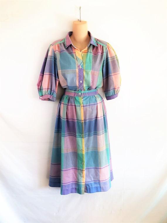 Cutest 80s Pastel Plaid Rainbow Summer Dress - Che