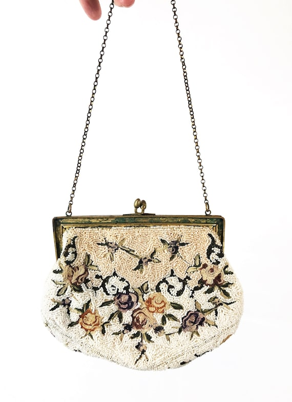 Vintage MidCentury Distressed Mini Beaded Purse