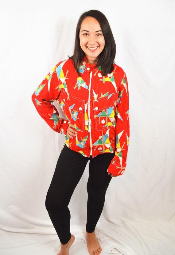 Vintage 80s 1980s Red Geometric Cotton Rainbow Jac