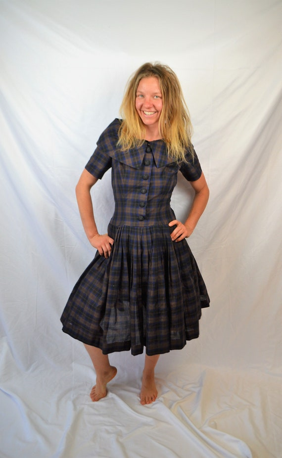 Vintage 1950s Gigi Young Amazing Plaid 50s Dress