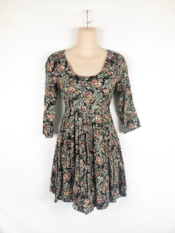 Vintage 80s Floral Grunge Dress by Contempo Casual