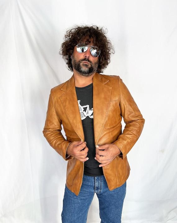 Vintage 1970s 70s Brown Leather Jacket Blazer Coat - image 1