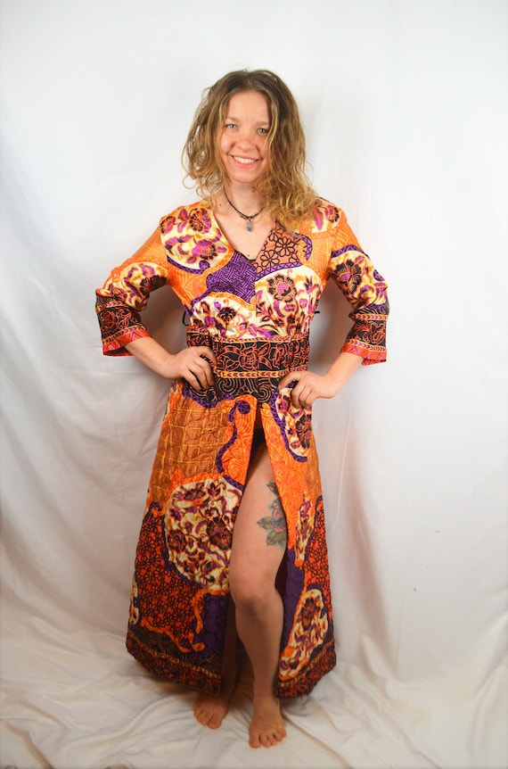 Vintage 60s 70s Psychedelic Quilted Maxi Dress - P