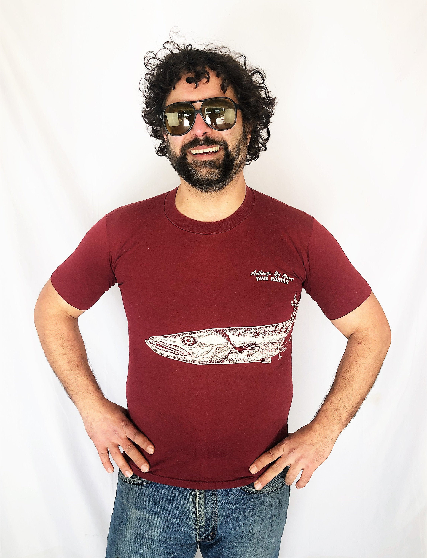 80s Tops, Shirts, T-shirts, Blouse   90s T-shirts Vintage 1980S 80S Dive Roatan Scuba Red Maroon Fish Tee Shirt Tshirt $28.80 AT vintagedancer.com
