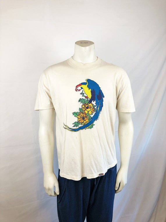 Vintage 1980 Rainbow Parrot Bird Hawaii Tee Shirt