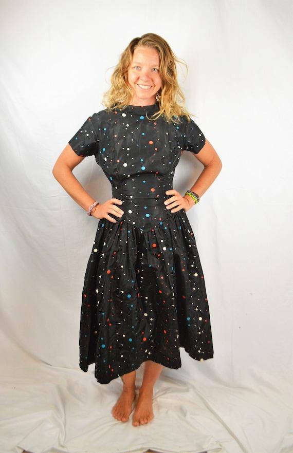 Vintage 1950s 50s Mode O Day Polka Dot Satin Dress