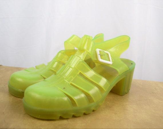 Vintage Neon Yellow 80s 90s Summer Jellies Jelly … - image 2