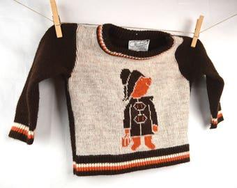 KIDS SIZE Vintage 70s Paddington Bear Sweater
