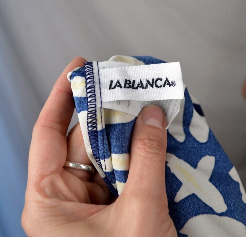 La Blanca Vintage 80s Blue Metallic Zipper Swimsuit