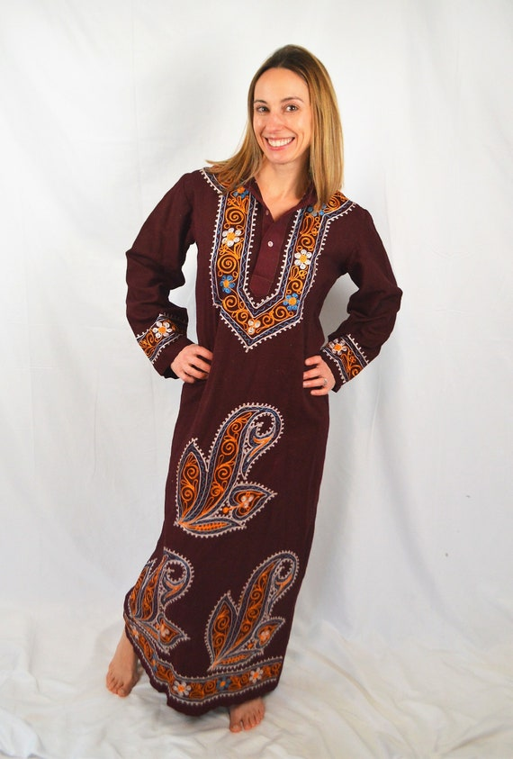 Vintage India Ethnic Hooded Embroidered Maxi Dress