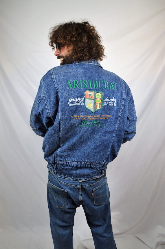 80s WOW Vintage Denim Coat Jean Great 1980s Fleece Weird Kongloon Jacket FUUqw5nHg6