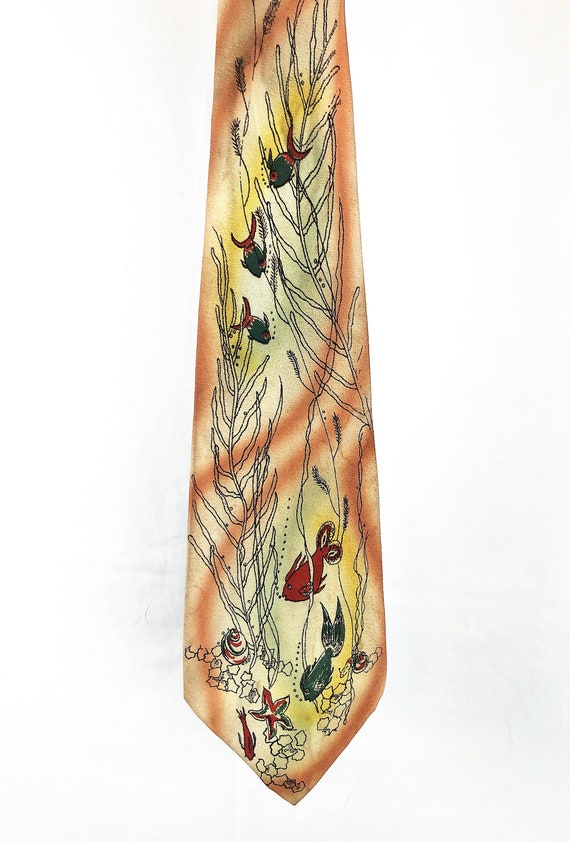 Vintage 40s 1940s Hand Painted Tie - Fish Under th