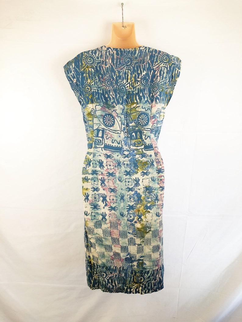 Vintage 90s Ethnic Boho Batik Summer Mini Geometric Tribal Dress
