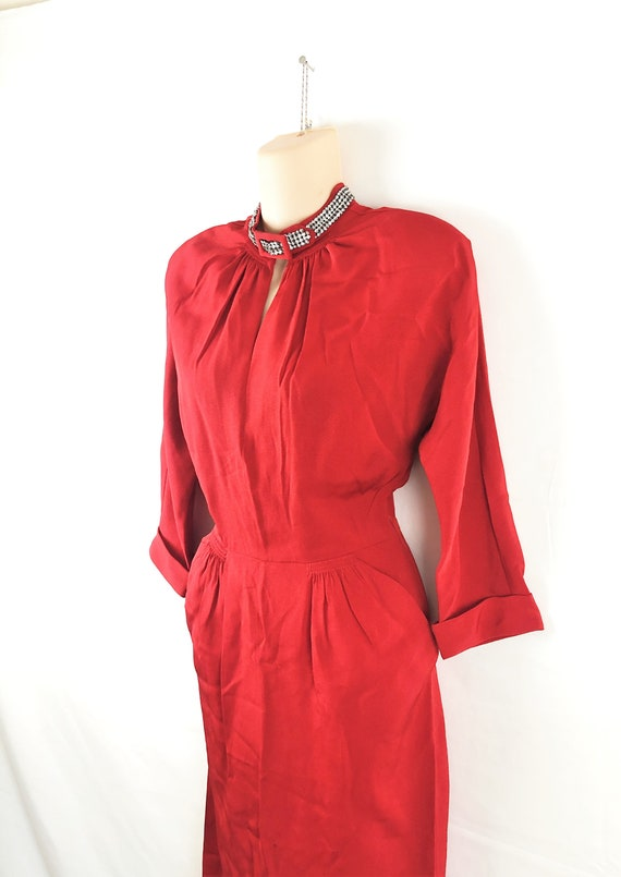 Amazing Vintage 1940s 40s Red Rayon Rhinestone Dre