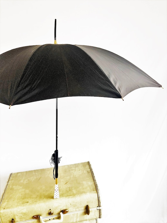 Vintage 1970s 70s Black Umbrella Parasol
