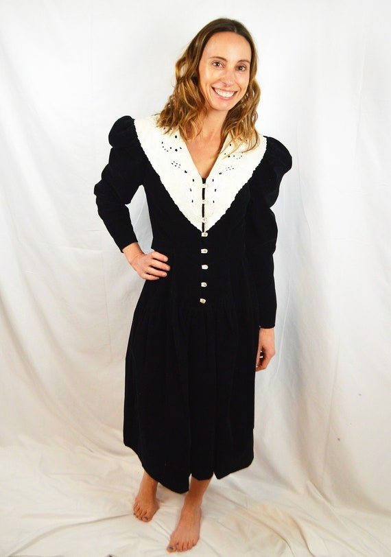 Vintage 80s You Babes Black Velvety Lace Goth Dres