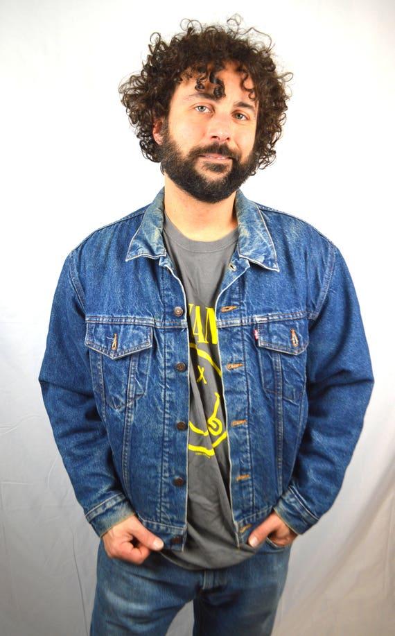 Vintage 80s Levis Dark Wash Denim Jacket Coat Blanket Lined  2868126b5